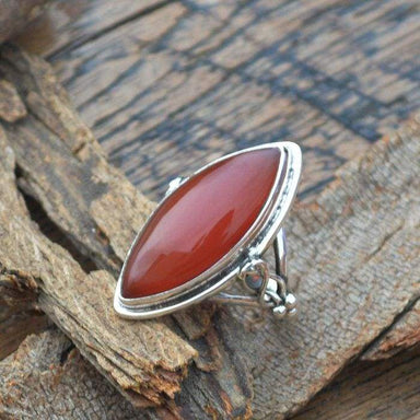 Rings Marquise Red Onyx Gemstone Ring 925 Sterling Silver Artisan Handmade Gift