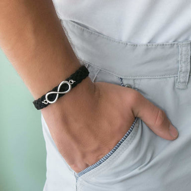 Bracelets Men's Bracelet - Leather - Infinity - Jewelry - Gift - Boyfriend - Husband - by Magoo Maggie Moas