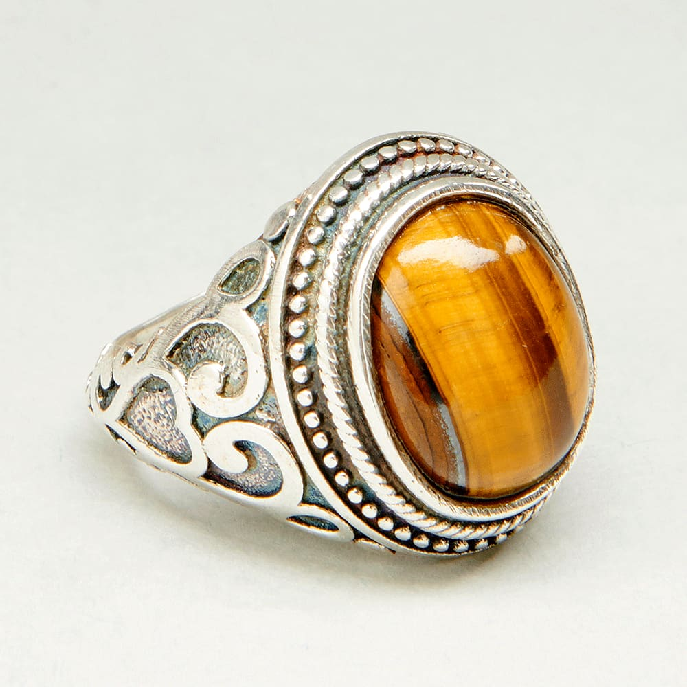 Rings Mens Handmade Ring Turkish Silver Men Ottoman Tiger Eye Gift for Him 925k Sterling - by InishaCreation
