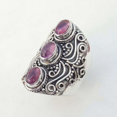 Rings Mens Ring Natural Pink Tourmaline solid silver Ring-D39