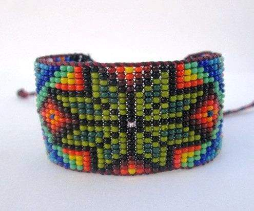 Bracelets Mexican Huichol Inspired Beaded Star Bracelet Cuff For Men or Women