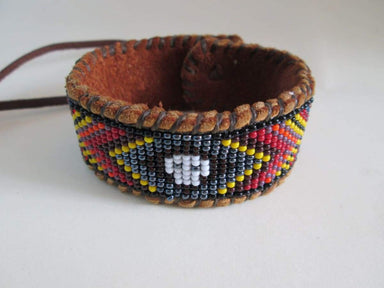 Bracelets Mexican Huichol Style Calavera Skull Day of the Dead Beaded Bracelet on Deer Hide