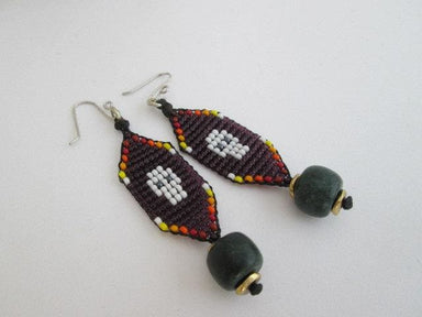 Earrings Mexico Day of the Dead Purple Beaded Skull Dangle