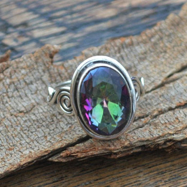 Rings Midnight Rainbow Quartz Ring -925 Sterling Silver Designer Handmade