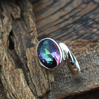 Rings Midnight Rainbow Quartz Ring -Oval Cut Mystic -Solid 925 Sterling Silver