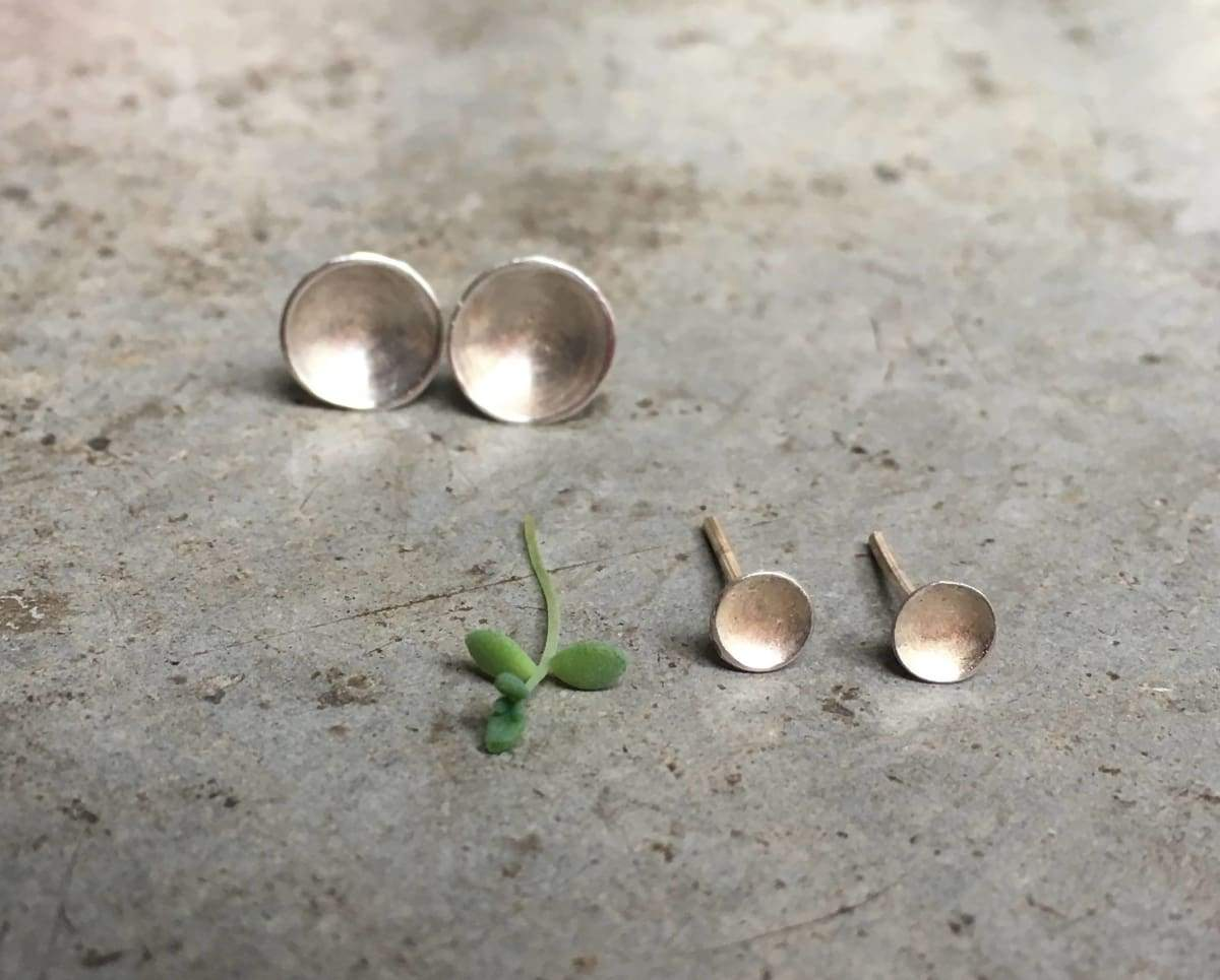 Earrings mini bowl earrings silver post minimal extra small graduation gift confirmation
