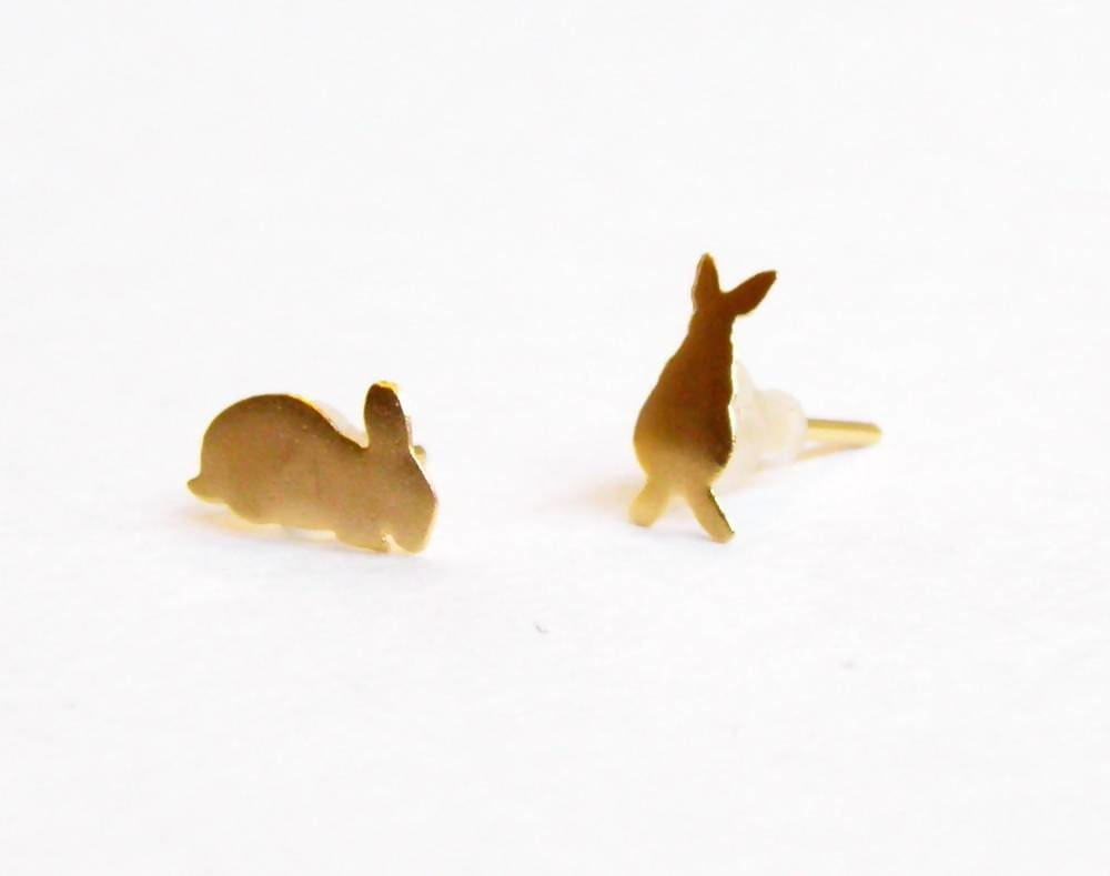 Earrings mini bunny rabbit earrings 24k satin gold studs gift for a girl esty best earring lovely little post earrings,