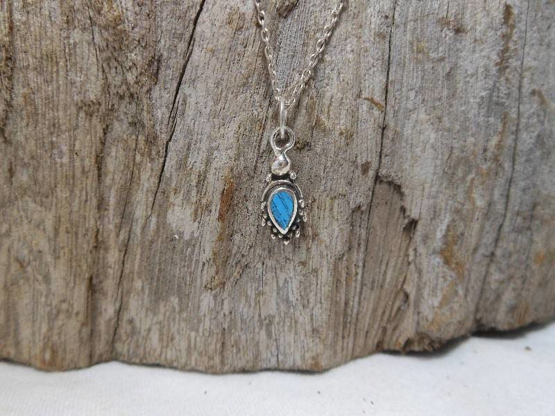 Necklaces Minimalist Turquoise Pendant Silver Teardrop and Gift For Her - by Sup