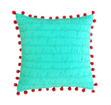 Pillows & Cushions Mint throw pillow cover cotton coral pom standard size 16X 16 - by VLiving