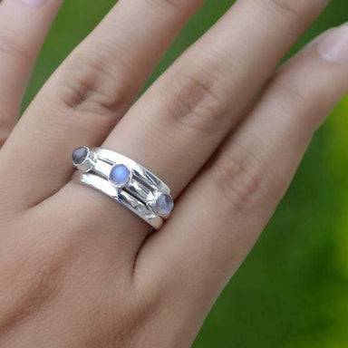 Rings Misty Rainbow Moonstone Gemstone Ring 925 Sterling Silver Bezel Set June Birthstone Gift Solid silver Band Jewelry
