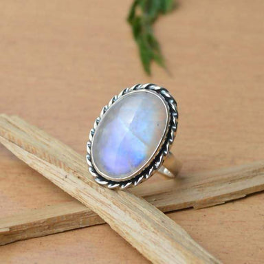 Rings Misty Rainbow Moonstone Gemstone Ring 925 Sterling Silver Designer Ring,Bezel Set June Birthstone Gift All Specified Sizes Avail