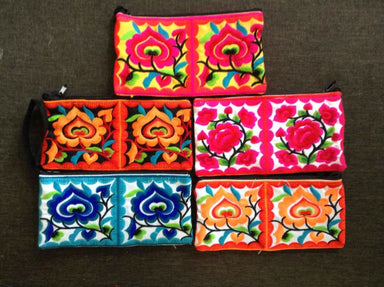Mix of 5 Hmong Wristlet Clutch Hippie Style Ethnic Thai Boho Medium Small Size Embroidered Purses - by lannathaicreations