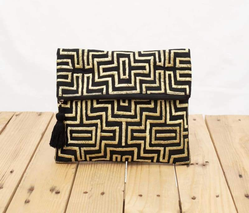 Mola purse Black and gold colour bag foldover clutch embroidered 10X8 inches - Bags