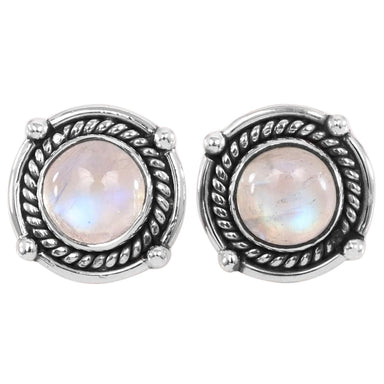 Earrings Moonstone Earring 925 Sterling Silver Rainbow Stud 15X15mm For Women - by Rajtarang