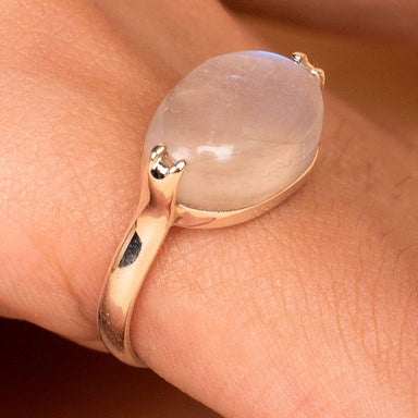 Rings Moonstone Handmade Ring Blue Flash Rainbow 925 Sterling Silver Birthday Gift - by jaipur art jewels