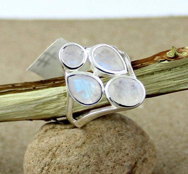 Rings fire moonstone ring faceted cut blue silver