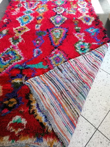 Moroccan Boucherouite Rug Colorful Shag Accent - by Home