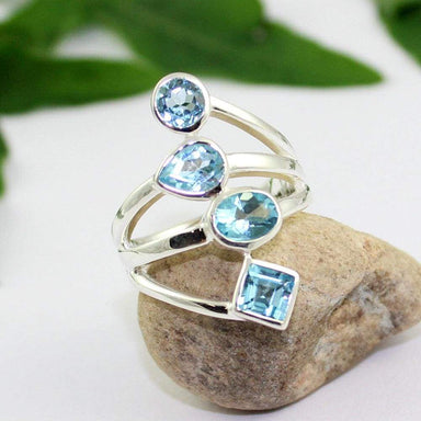 Rings multi cut blue topaz ring silver jewelry handmade