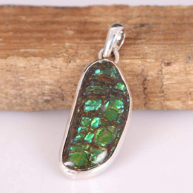 Necklaces Multi Fire Fossilized Ammolite Gemstone Handmade 925 Sterling Silver Pendant