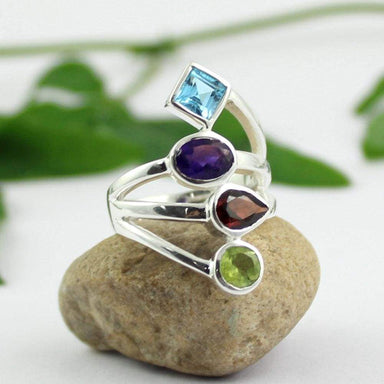 Rings multi gemstone ring swiss blue topaz amethyst