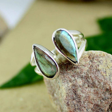 Rings Multi fire labradorite ring silver promise pear faceted
