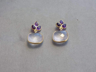 Earrings Multi Stone (Amethyst Rose Quartz) Gold plated Sterling Silver Gemstone Jewelry UniqueSilverZone