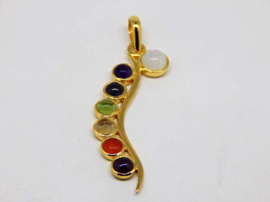 Necklaces Multi Stone Colour Chakra Silver Gold Plated Pendant
