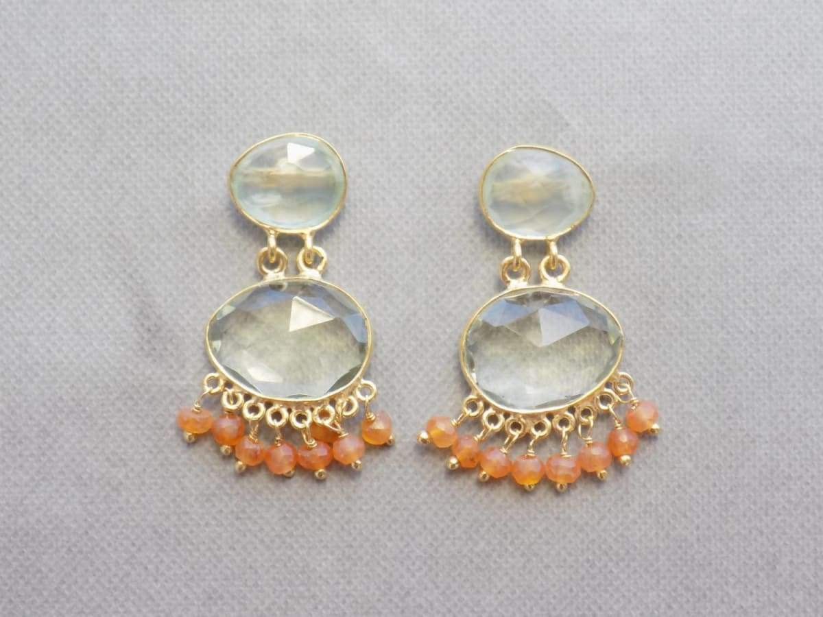 Earrings Multi Stone (Prehnite Green Amethyst Carnelian) Gold plated Sterling Silver Gemstone Jewelry