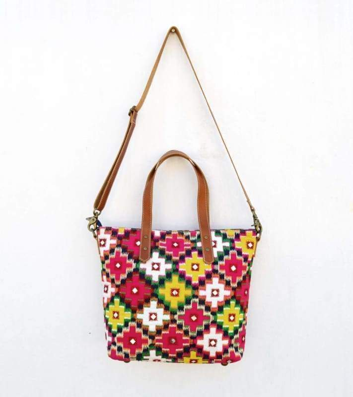 Multicolor ikat tote bag ethnic bohemian cotton with leather embroidered 12X16 inches - Bags