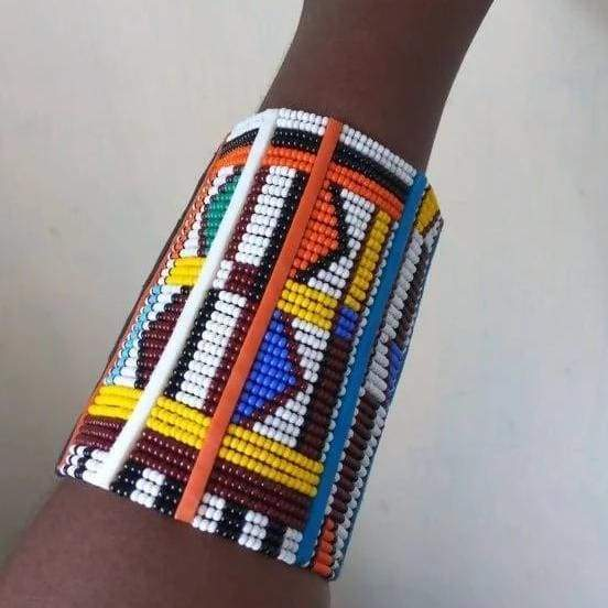 Bracelets Beautiful Unique Maasai Beaded Statement Bracelet in Multicolor - by Naruki Crafts