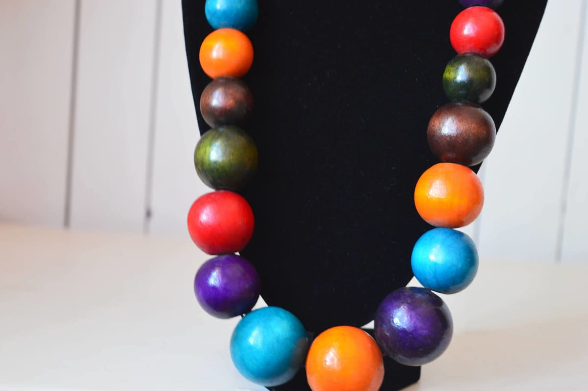 necklaces Multicolored Chunky Necklace African Wooden Beads Jewelry Tribal - by Naheri