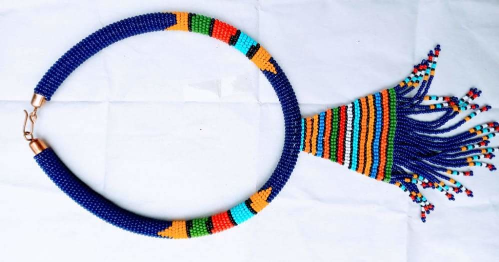 Necklace Multicolored Fine Beaded Maasai - by NANGIKIS