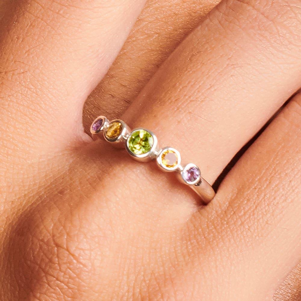 Rings Multistone Ring 925 Solid Silver Peridot Citrine Amethyst Multi-color Gemstone For Women Wedding Anniversary Gift Jewelry - by