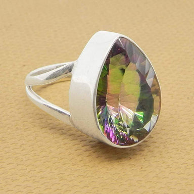 Rings Mystic Topaz 925 Sterling Silver Designer Bezel Set Gemstone Ring Jewelry