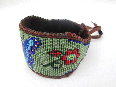 Bracelets Native American Inspired Beaded Cuff Bracelet with Blue and Green Butterfly on Deer Hide