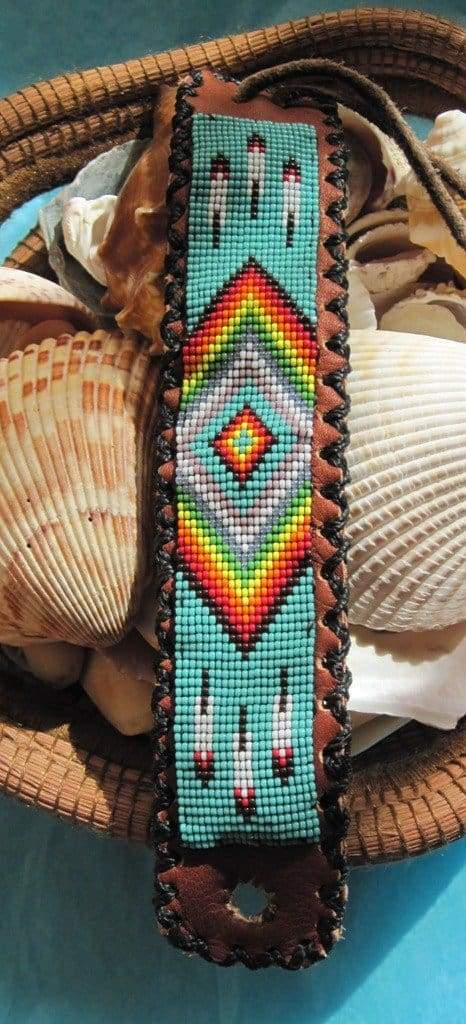 Bracelets Native American Inspired Beaded Rainbow Feather Bracelet on Leather