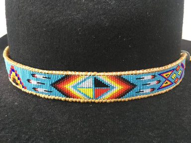 Accessories Native American Style Inspired Beaded Hat Band on Tanned Deer Hide