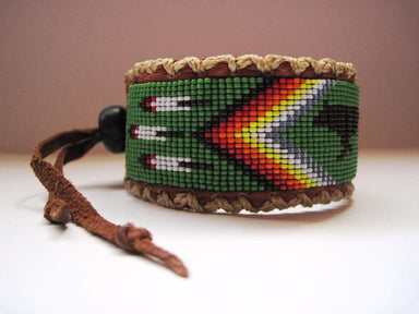 Bracelets Native American Style Inspired Beaded Walking Wolf on Leather Cuff Bracelet
