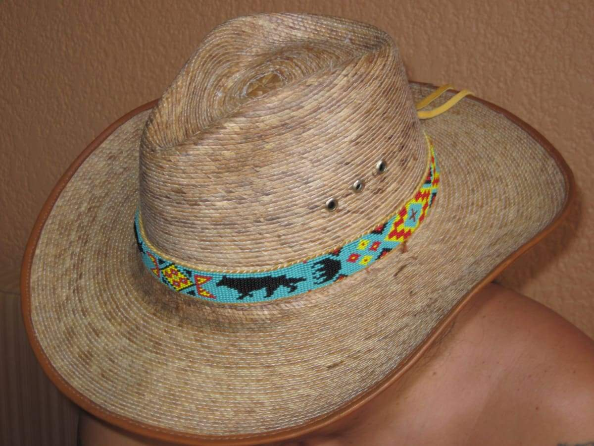 Accessories Native American Style Inspired Beaded Wolf Hat Band on Tanned Deer Hide