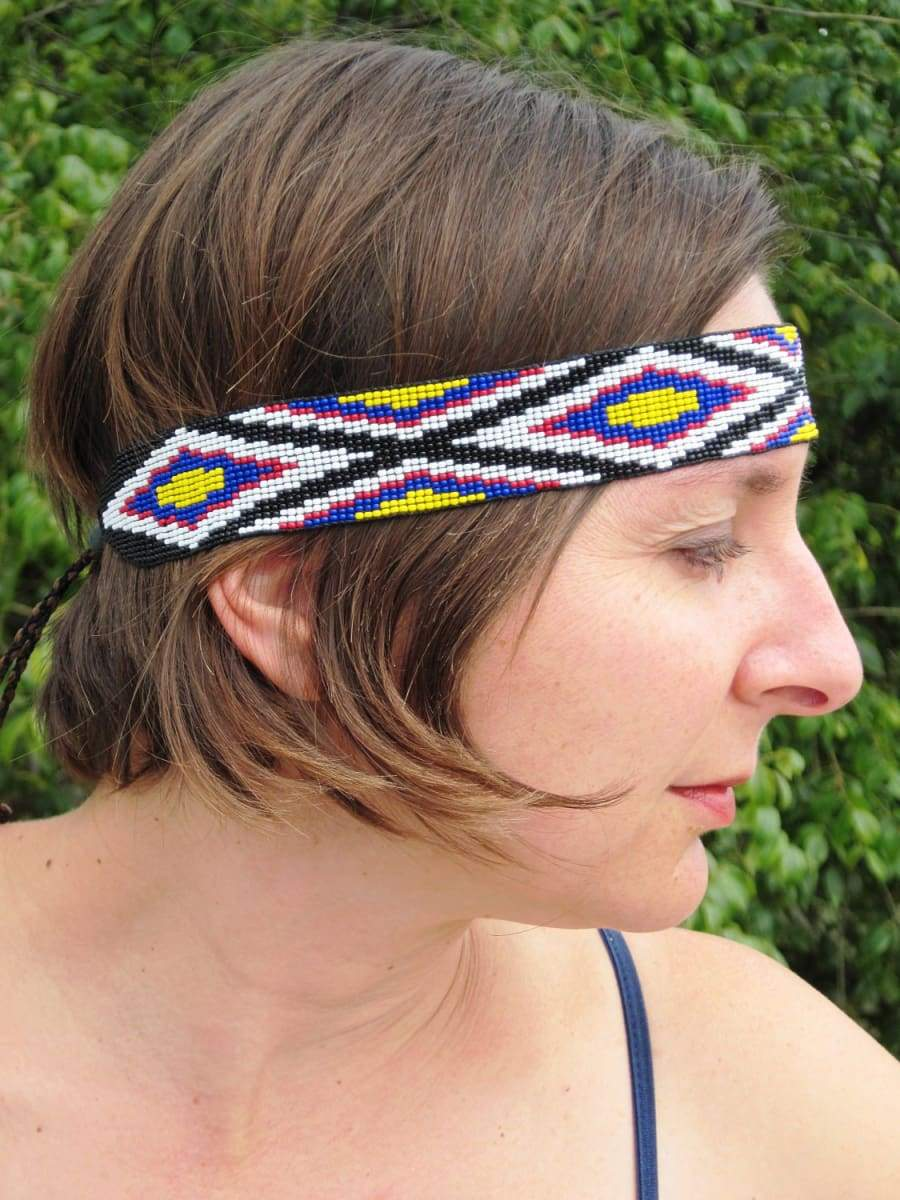 Accessories Native American Style Inspired Black White Blue Yellow and Red Beaded BOHO Headband or Hatband