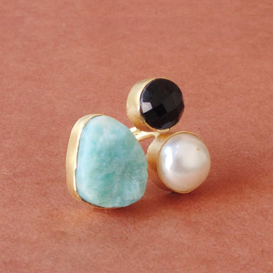 Natural Amazonite Pearl And Black Onyx Gemstone Wedding Adjustable Ring - by Bhagat Jewels