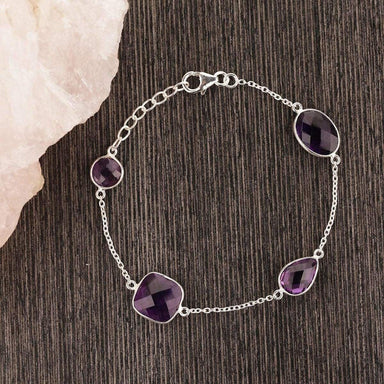 Natural Amethyst Bracelet Silver Chain Round Gemstone Women Purple