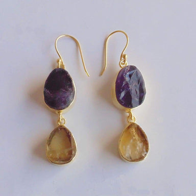 Natural Amethyst And Citrine Dual Birthstone Designer Earrings For Womens