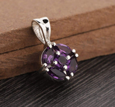 Natural Amethyst Pendant -Sterling Silver Necklace -Purple Gemstone Solid Sterling