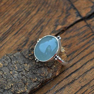 Rings Natural Aquamarine Gemstone Cabochon Ring Sterling Silver