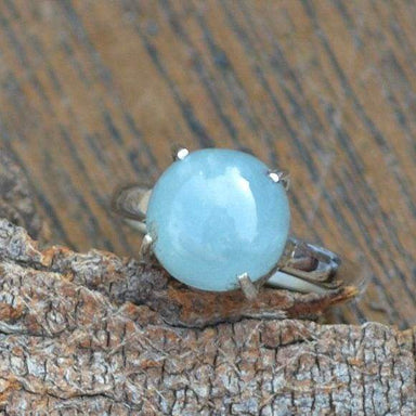 Rings Natural Aquamarine Prong Work Ring,925 Sterling Silver