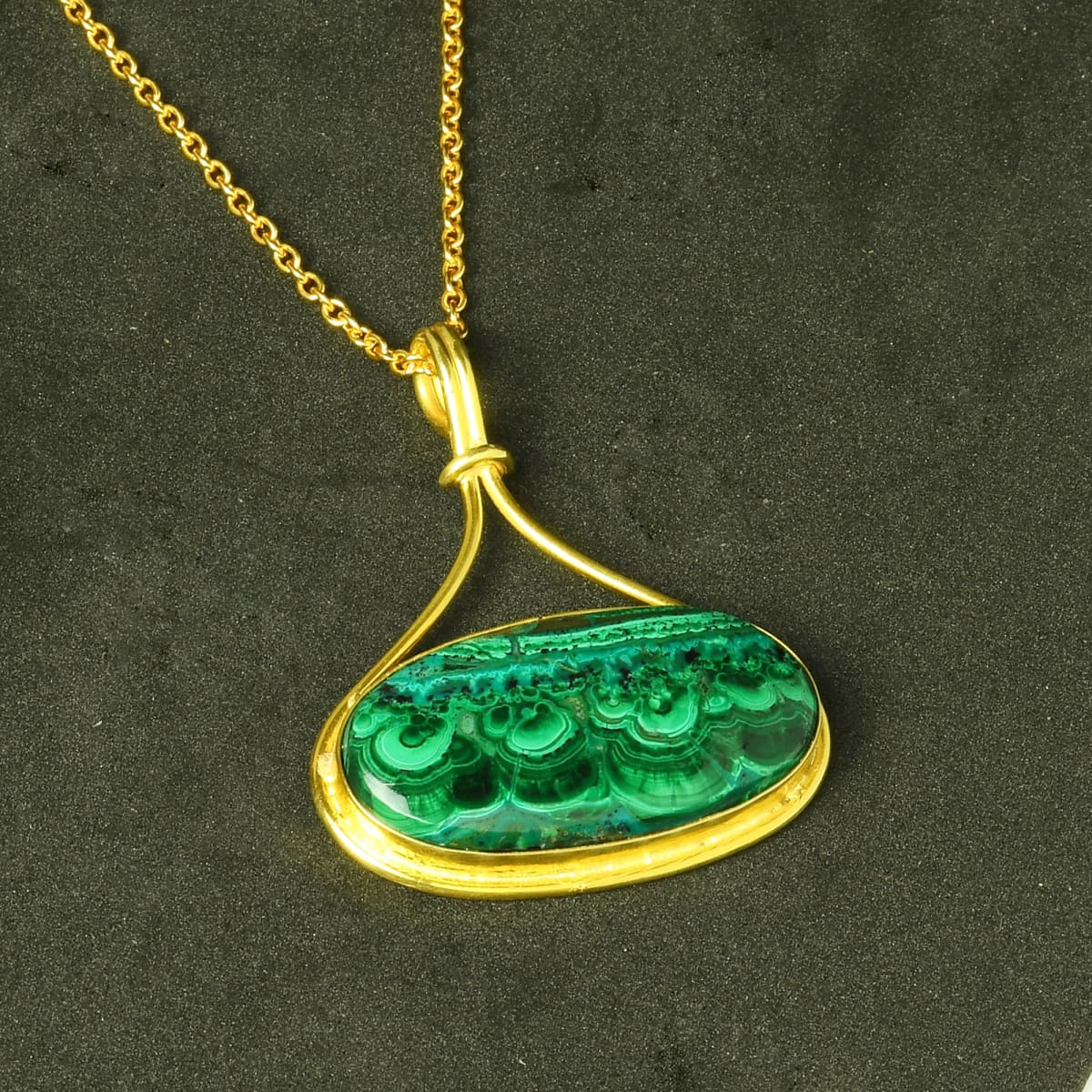 Natural Azurite Malachite Oval Cabochon Gemstone Amazing Statement Pendant - by Bhagat Jewels