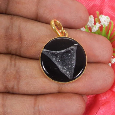 Natural Black Druzy Round Gold Plated Bezel Set Pendant - by Ishu gems