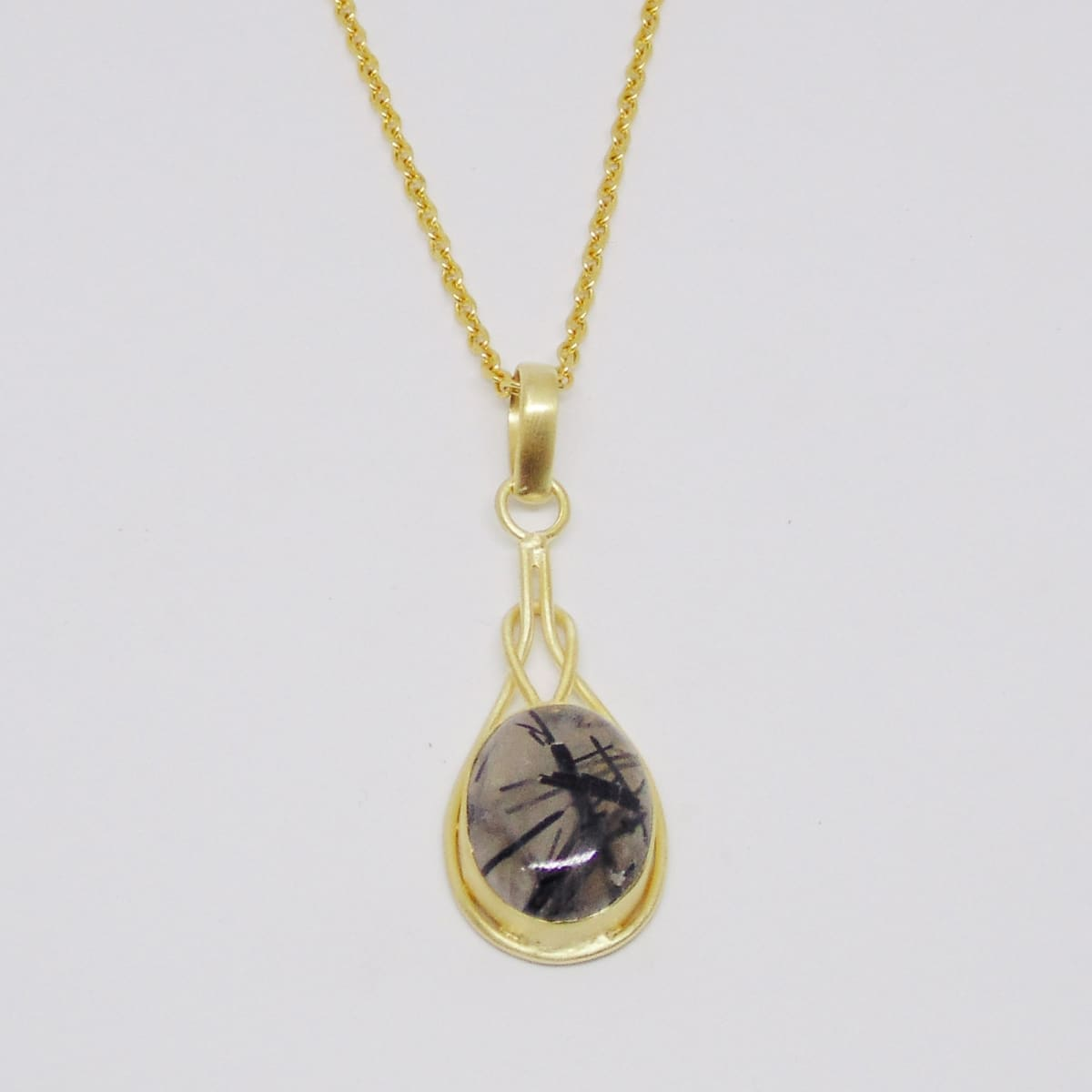 Natural Black Rutilated Quartz Gemstone Magnificence Pendant - by Bhagat Jewels