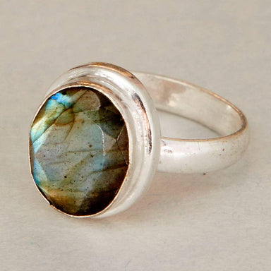 Rings Natural Blue Labradorite Gemstone 925 Sterling Silver Ring Fashion Handmade Jewelry Gift - by NativeFineJewelry